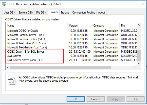 KBI 311682 Issue Addressed: SQL Server ODBC Connection Failure After